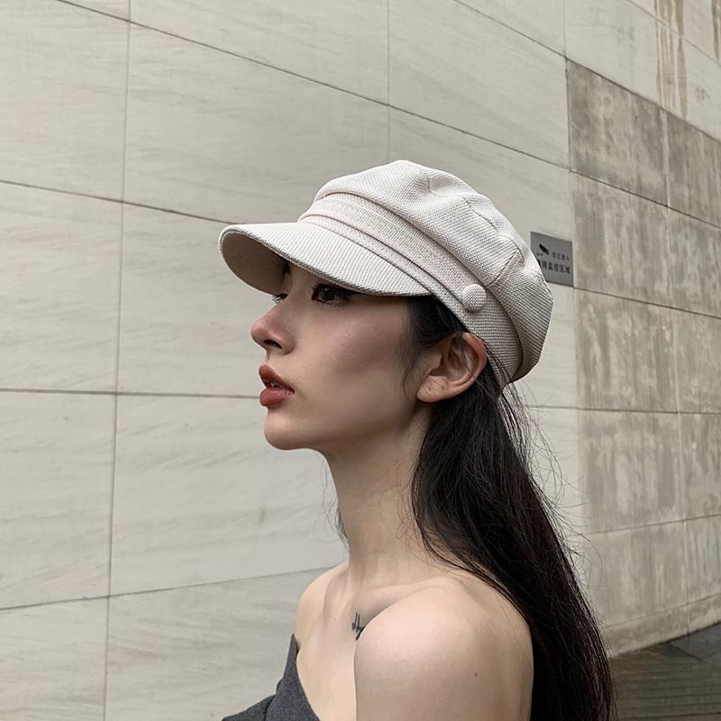 帽子女韩版网红同款棉麻平顶海军帽百搭英伦复古八角帽时尚贝雷帽限时秒杀