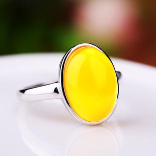 925银戒指空托镶嵌蜜蜡开口戒指托7