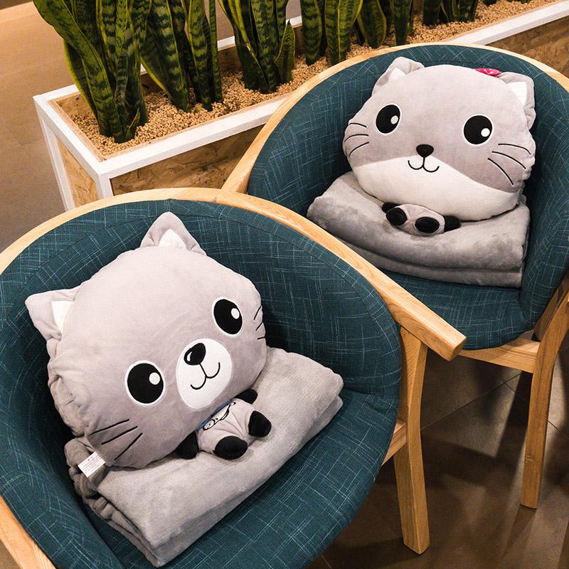 抱枕被子两用 多功能个性可爱 办公室汽车用靠垫沙发午休枕毯子