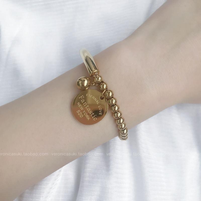 18K金色金珠圆牌弹力手链女韩版简约个性学生森系闺蜜清新手饰品