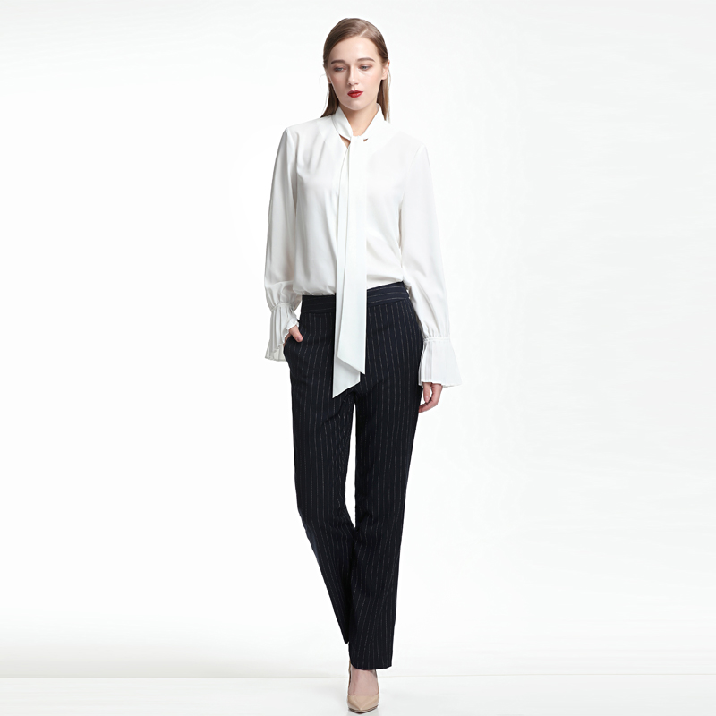2021 spring and summer new design, a small number of people wear Hong Kong wind pressure pleated ribbon, ruffle and versatile hot selling long sleeved blouses