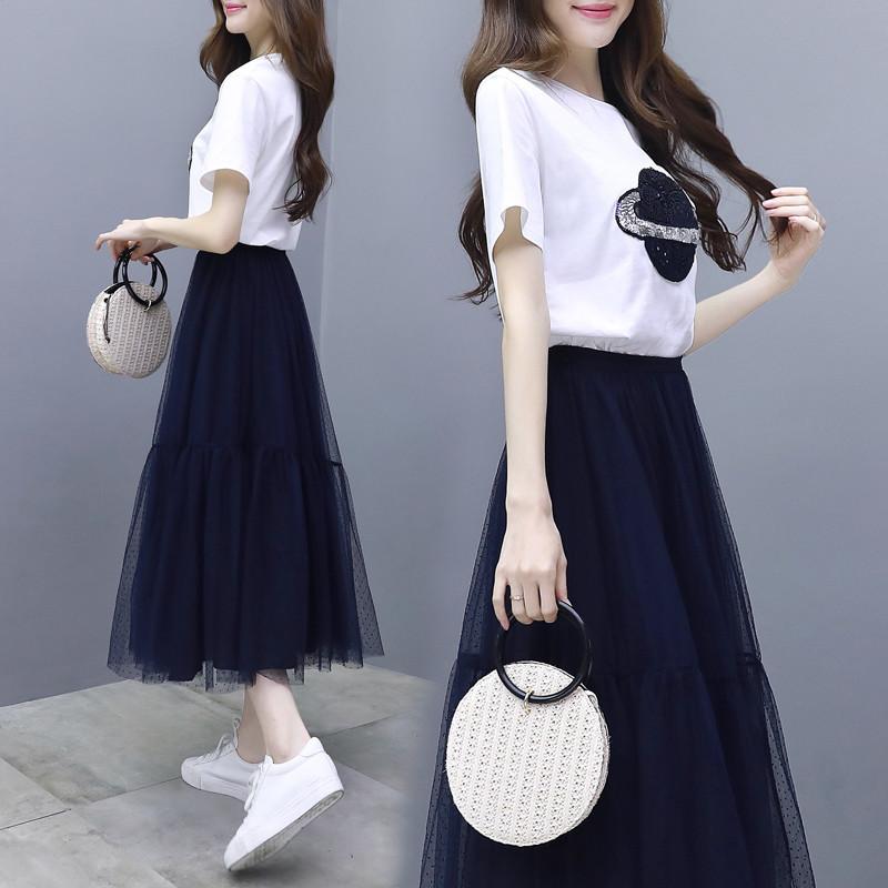 纺纱连衣裙夏季女装2020新款潮女轻熟气质流行网纱两件套装小清新