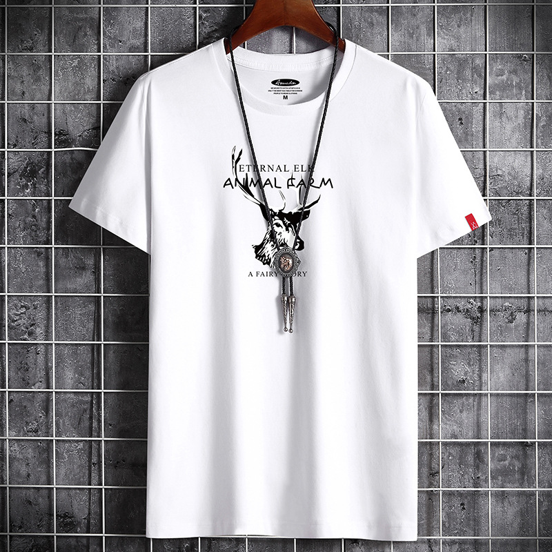2020 summer black t-shirt mens short sleeve fashion casual Korean half sleeve T-shirt with elk animal pattern