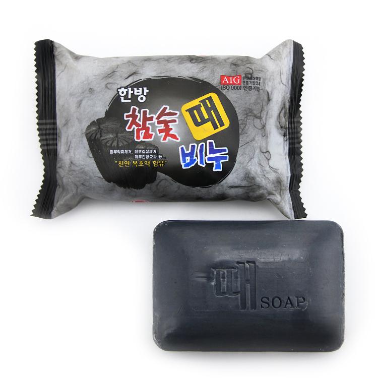 韩国进口正品 韩方竹炭免搓去灰皂洗澡木炭去泥香皂 去油去汗200g