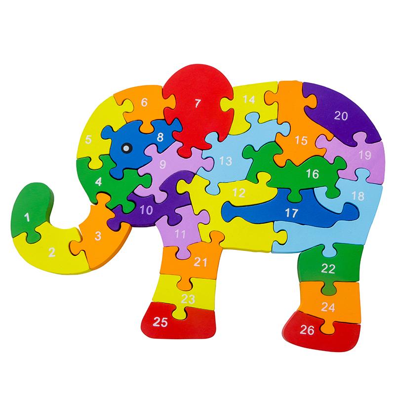 益智启蒙26英文字母数字认知木制拼图积木儿童玩具