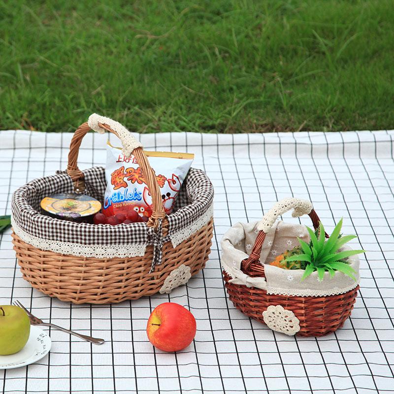 柳瑞轩 柳编野餐篮采摘篮收纳筐篮子礼品篮水果篮子花篮子户外篮