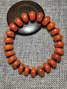 凉山料南红柿子红火焰纹算盘珠手串30.3G直径10.5,佛珠念珠玛瑙