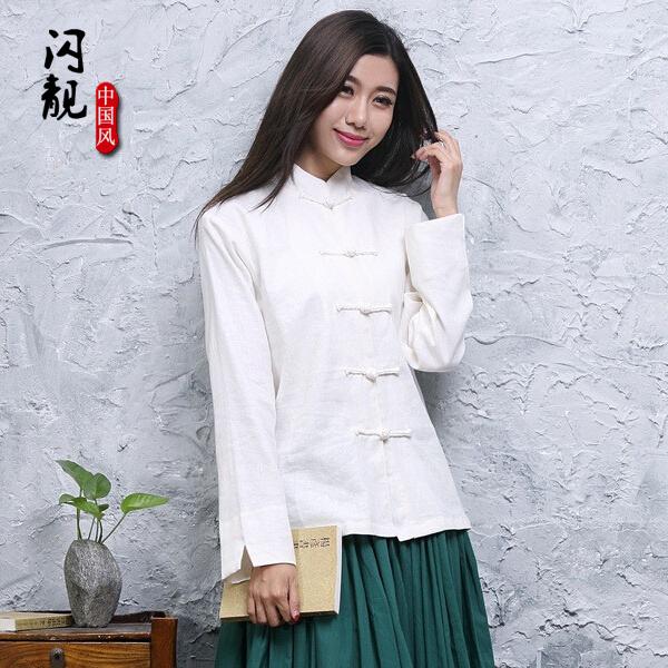 原创南笙同款白色小清新中式民族风盘扣棉麻文艺春秋女装立领衬衫