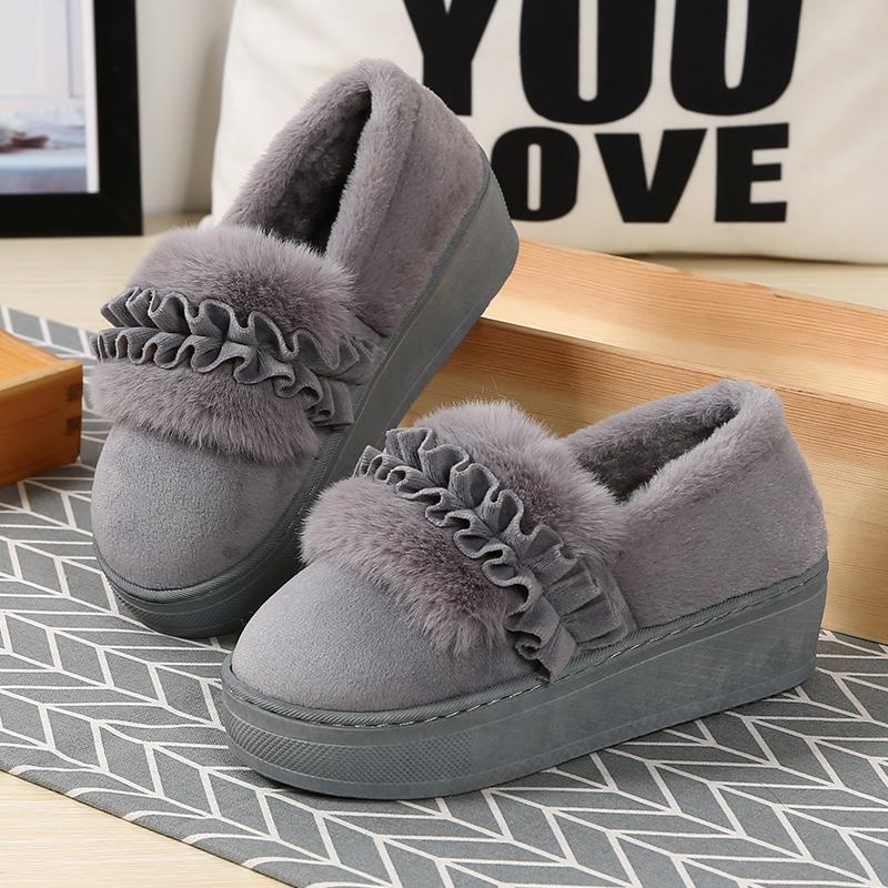 棉拖鞋女包跟室内家居防滑厚底坡跟荷叶花边保暖月子棉拖鞋女冬季