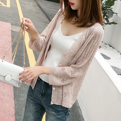 冰丝针织开衫女夏装新款韩版镂空防晒衫薄款小外套百搭外搭空调衫