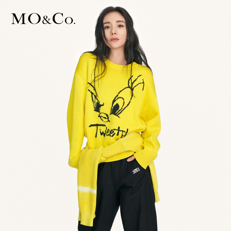 Yangmi same style - moco2020 spring new Tweety Trinity cartoon sweater mbo1swt005 mo'anke