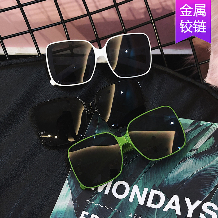 Net Red Sunglasses, large frame glasses, white frame, big face, thin and trendy sunglasses, womens trendy and versatile Sunglasses