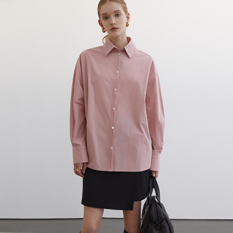 范洛2021春季新款粉色衬衫女设计感小众上衣百搭洋气长袖衬衣女