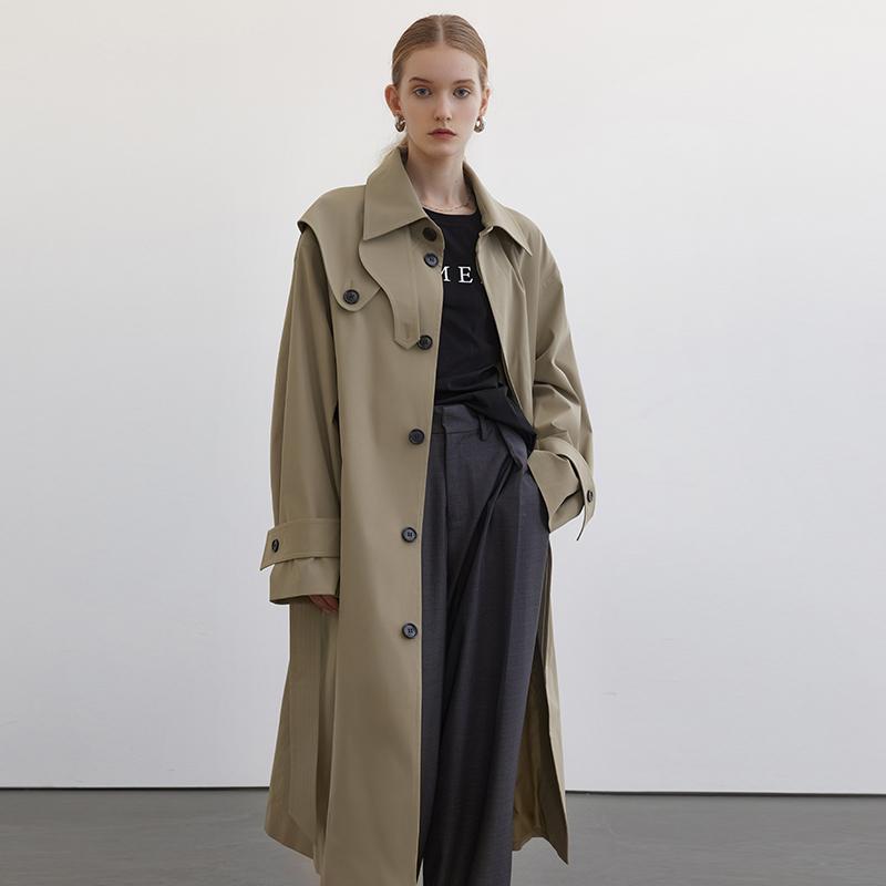 范洛2021春季新款风衣外套女设计感小众中长款气质英伦风薄款大衣