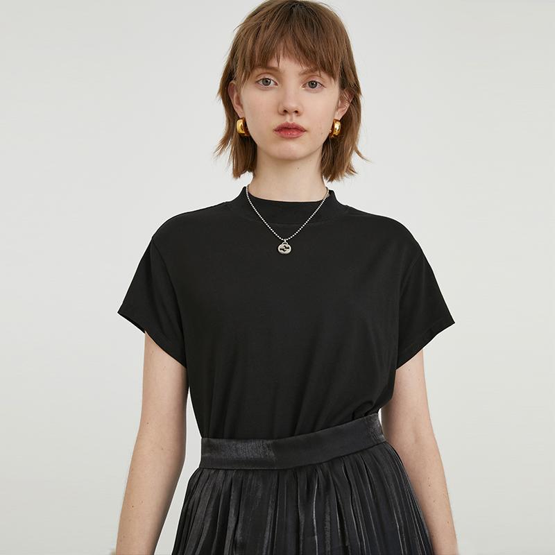 范洛 2020夏季新款黑色白色莫代尔半高领短袖女内搭打底衫半袖T恤图片