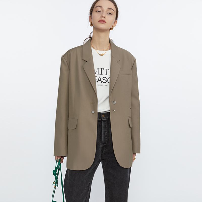 范洛西装外套女秋装2021新款高级炸街设计感小众棕咖色小西服上衣