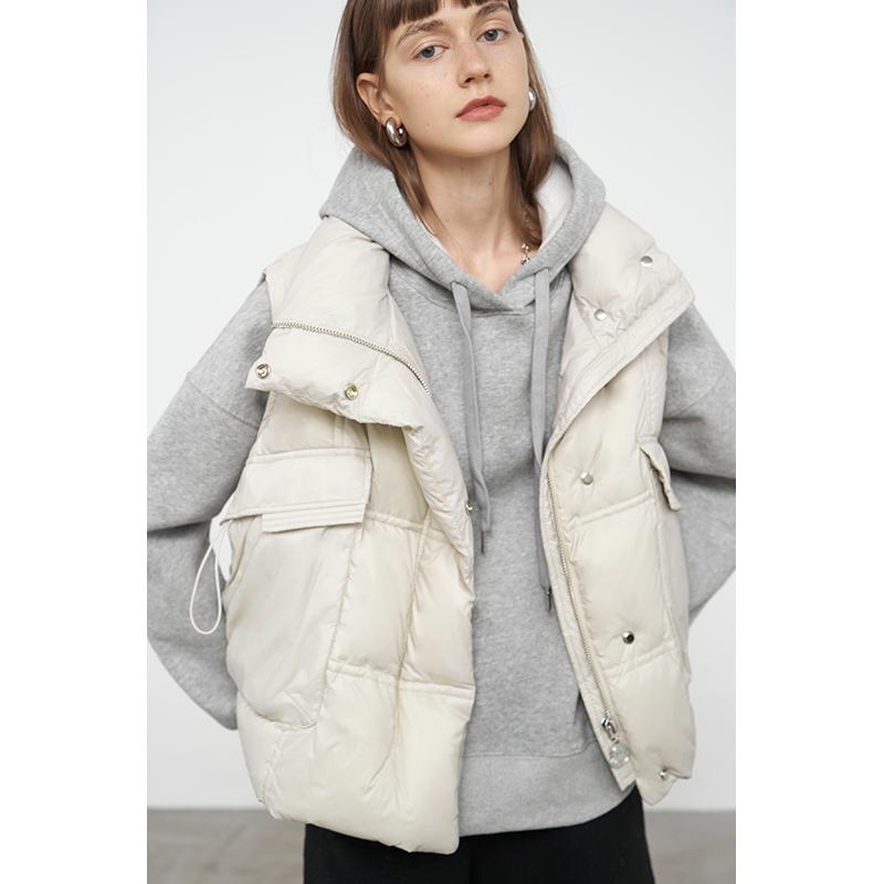 范洛2020冬季新款白鸭绒加厚羽绒服宽松百搭短款马甲背心外套女