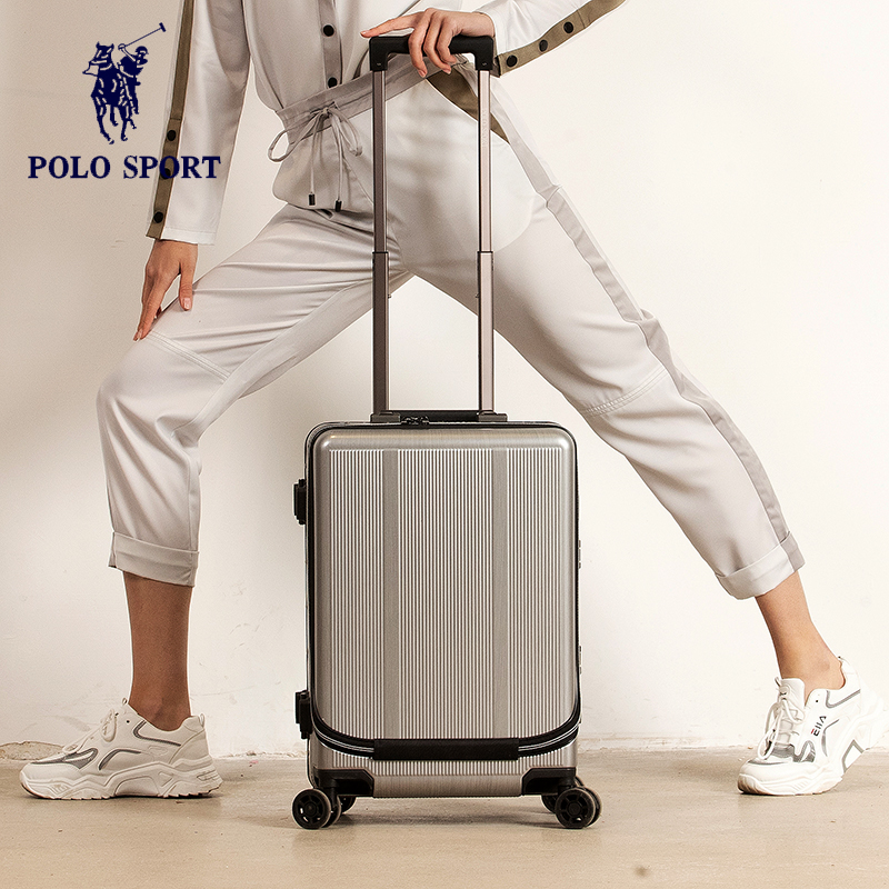 Polo Sport Paul business boarding case small aluminum frame pull rod case front flap 20 inch mens and womens hard luggage