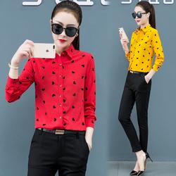 新款长袖衬衫女春秋韩版黄色红色白色印花衬衣显瘦百搭工装职业衫