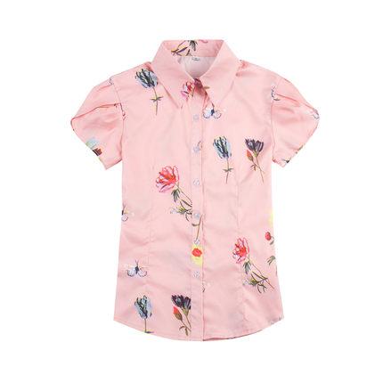 衬衫女短袖夏季新款韩版印花打底衫