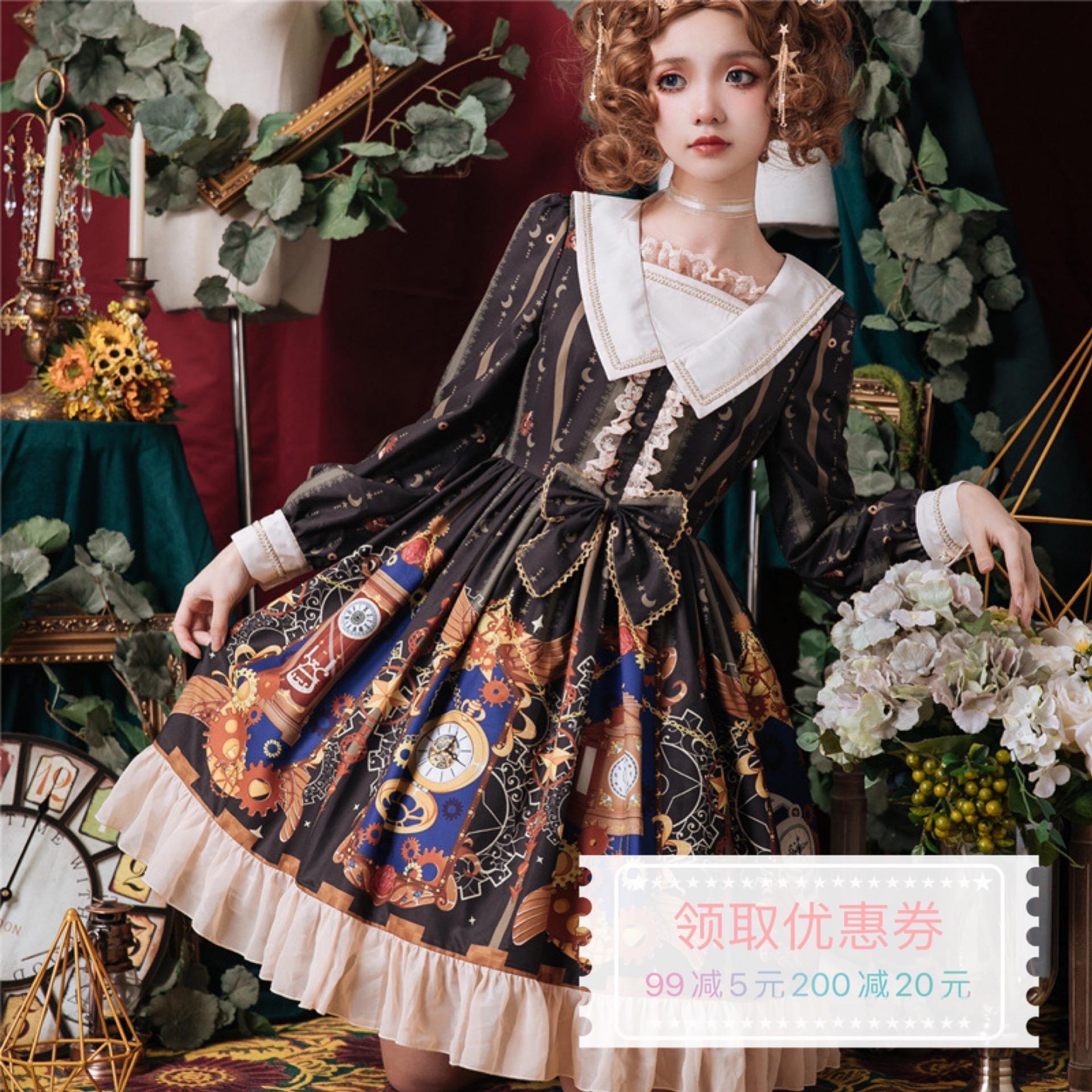 织锦园 时械之心 原创Lolita长袖OP连衣裙复古洛丽塔国牌