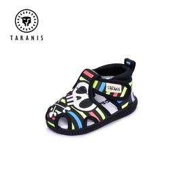 泰兰尼斯2020夏季专柜款男婴童棉布透气软底防滑叫叫学步包头凉鞋图片