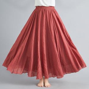 夏季新款文艺宽松大码棉麻半身裙松紧腰A字长裙纯色褶皱大摆裙子