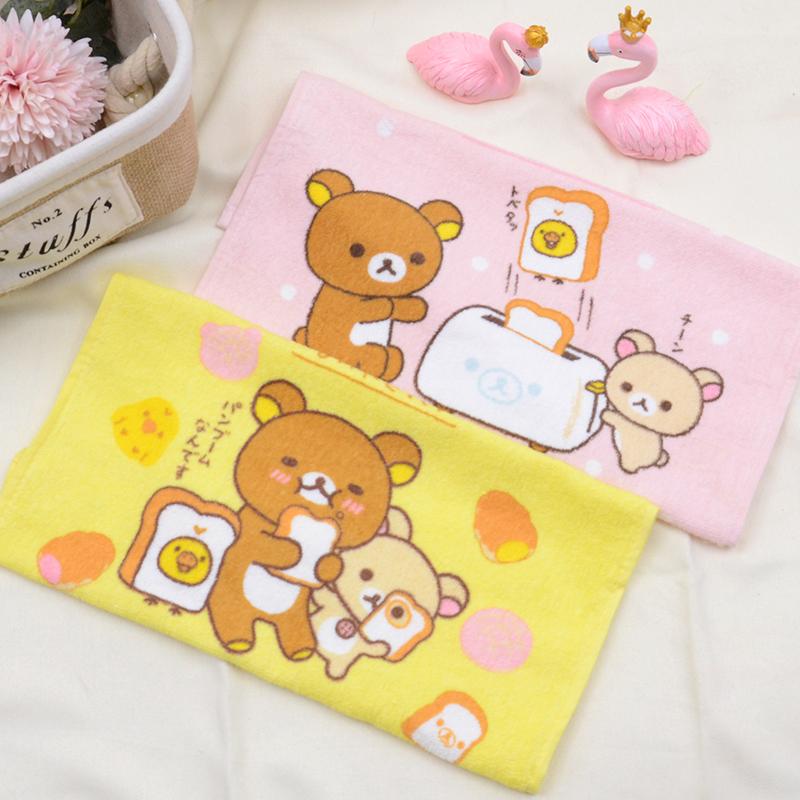 轻松熊纯棉薄款方巾 卡通可爱加大手帕手巾 洗脸小毛巾 吸水柔软