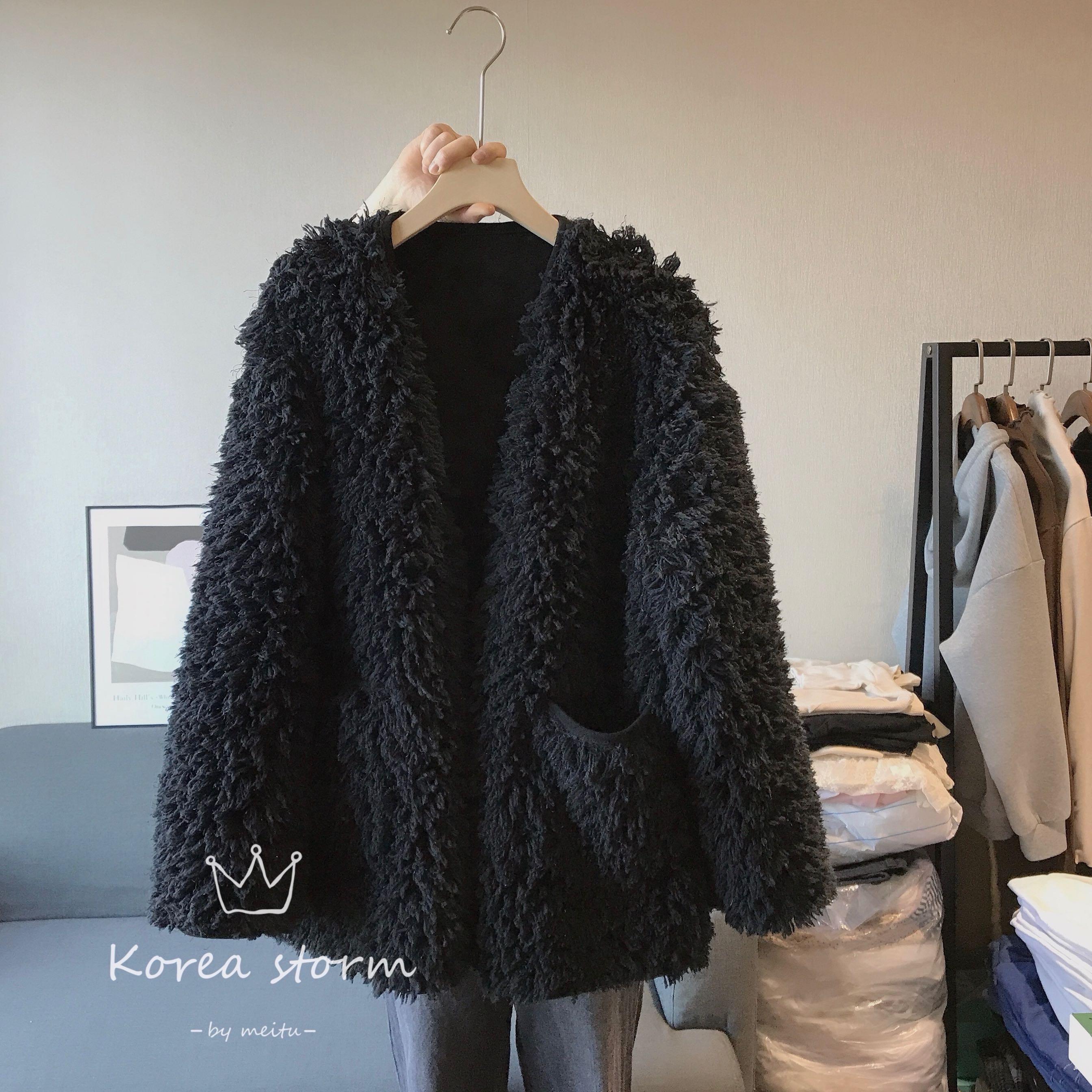 韩国货COMFANDGEH秋冬季女装新款三扣皮毛一体黑色外套 均码