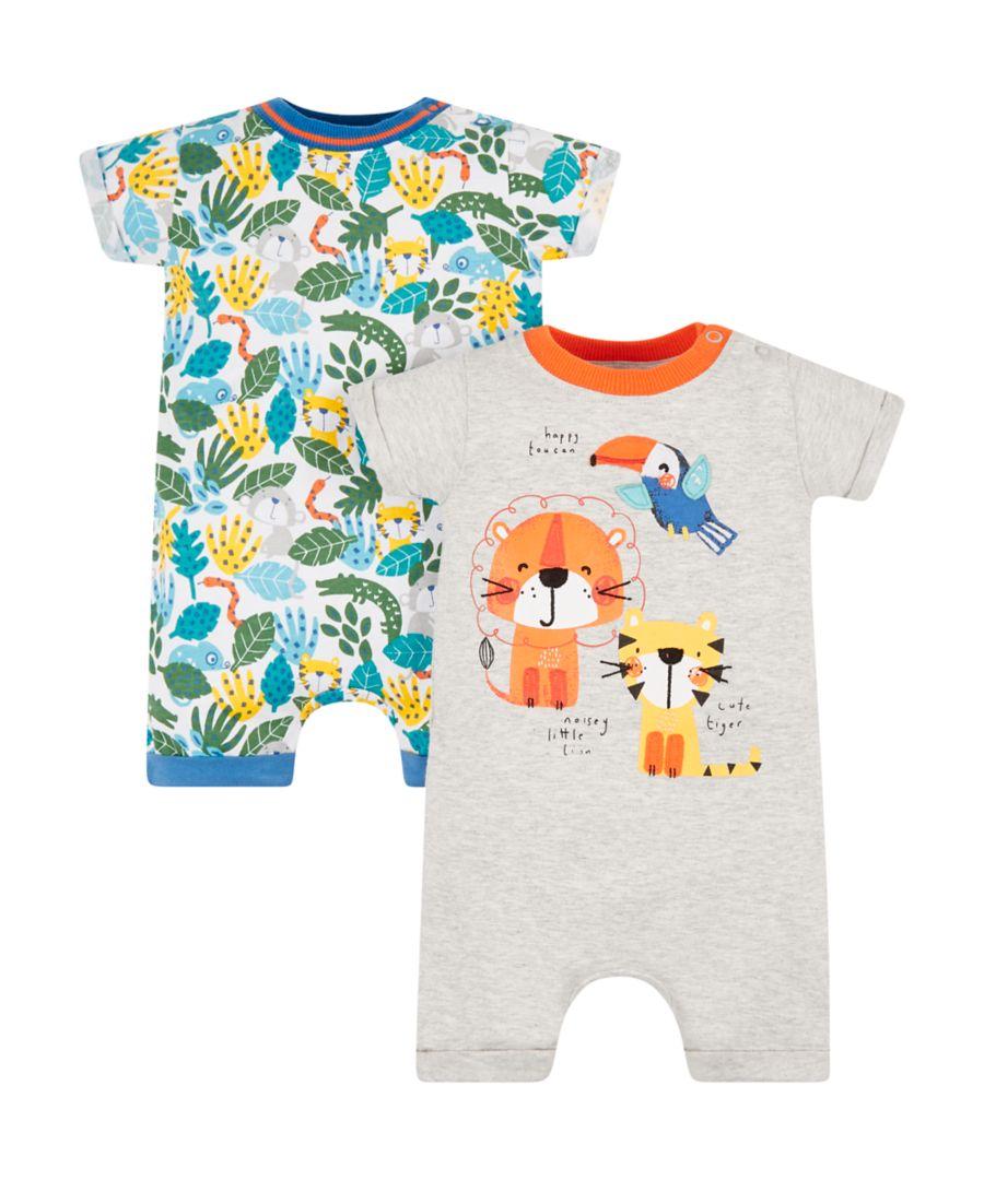 现货厦门麻麻5月英国童装Mothercare男女宝小动物短爬服两件装0-2