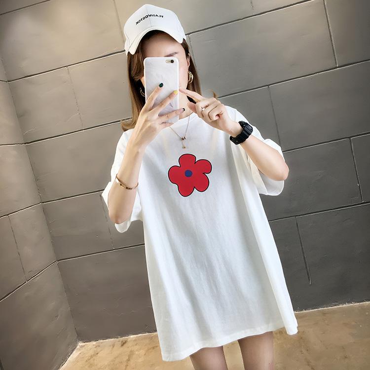 2446#实拍+小视频 夏季超火小红花学生中长款圆领T恤(6535棉)
