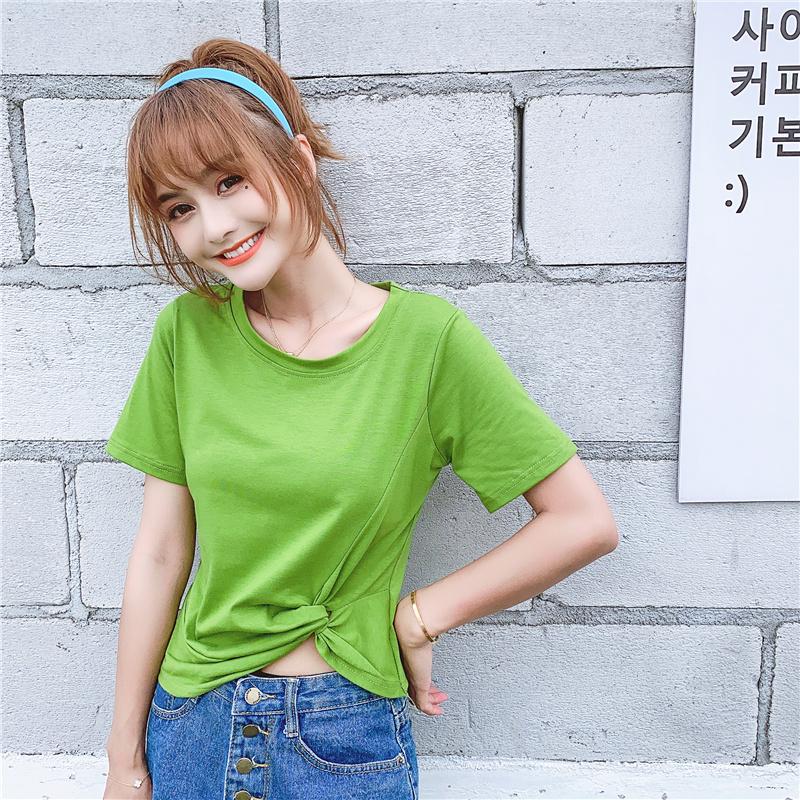 2598-2#實拍 6535棉 夏裝新款韓版高腰短款打結修身短袖T恤女上衣