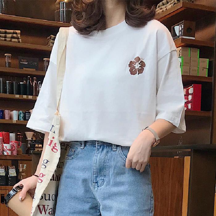 2061#實拍 2020夏季原宿風寬松大碼中長款韓范刺繡半袖T恤女學生