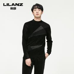 【商场同款】利郎羊毛衫男圆领黑色几何纹潮流打底毛衣