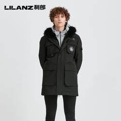 利郎官方 尼克服男皮草冬季保暖中长款工装外套男