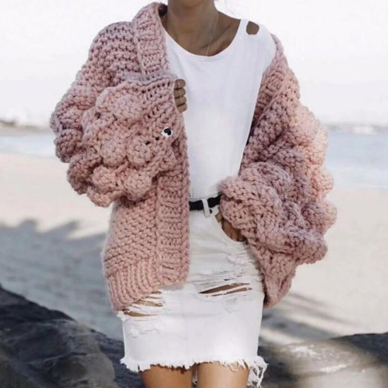 2018 Europe station new loose Lantern Sleeve handmade short cardigan lazy wind sweater womens T-shirt coat