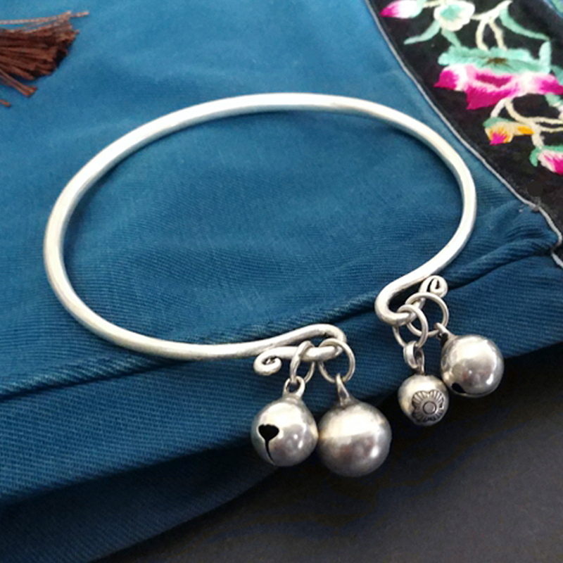 Miao silver Anklets antique Anklets with bells