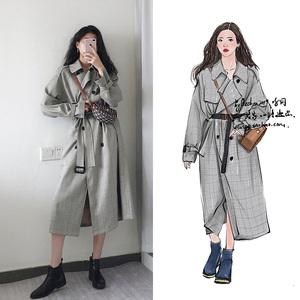 2020明星韩国街拍同款格子风衣大衣中长款过膝英伦风气质女装外套