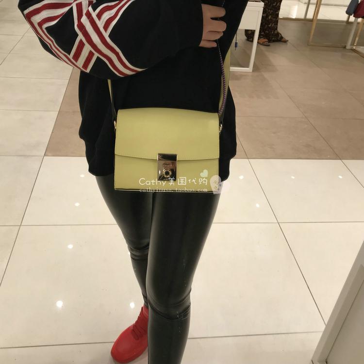 Cathy美国正品代购 FURLA/芙拉专柜款淡黄色小方包女斜挎单肩包