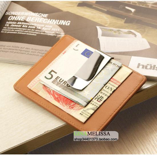 Simple wallet short British card bag ultra thin wallet metal stainless steel genuine leather banknote mens wallet