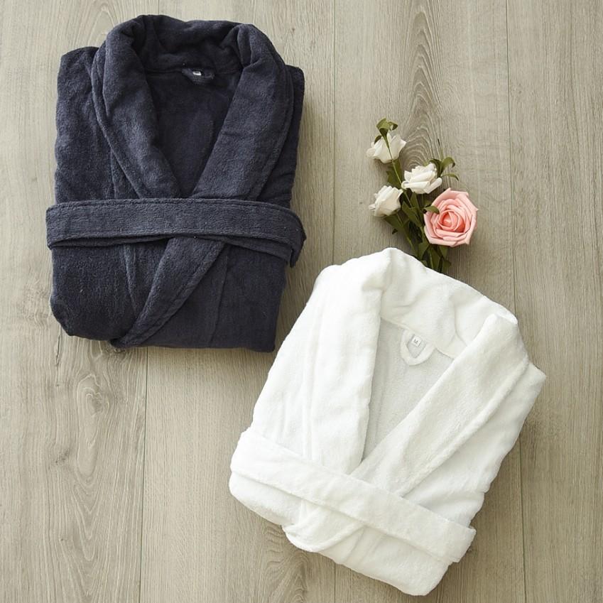 无印日单纯色全棉睡衣纯棉柔软亲肤春夏款加大加长浴衣良品浴袍