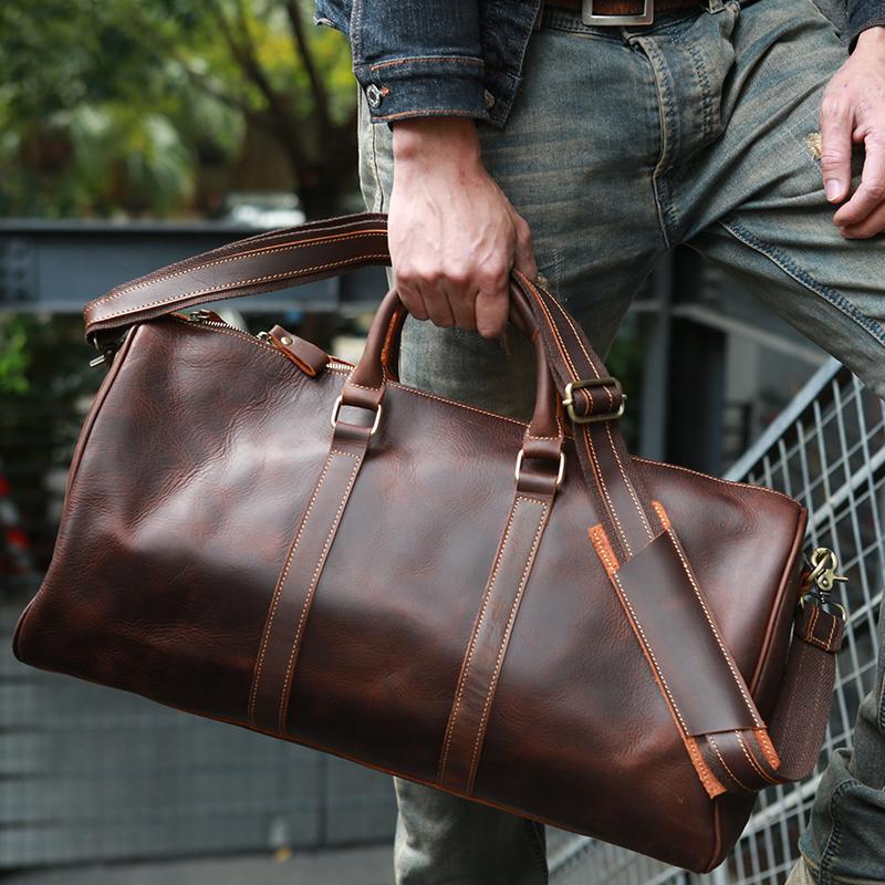 原创设计新品复古男士真皮手提行李袋头层牛皮疯马皮旅行包ZEEMOO