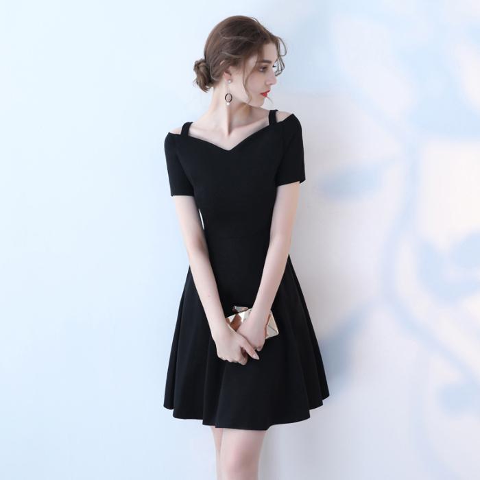 2021春夏吊带短袖赫本V领纯色小黑裙休闲气质百搭蓬蓬连衣裙