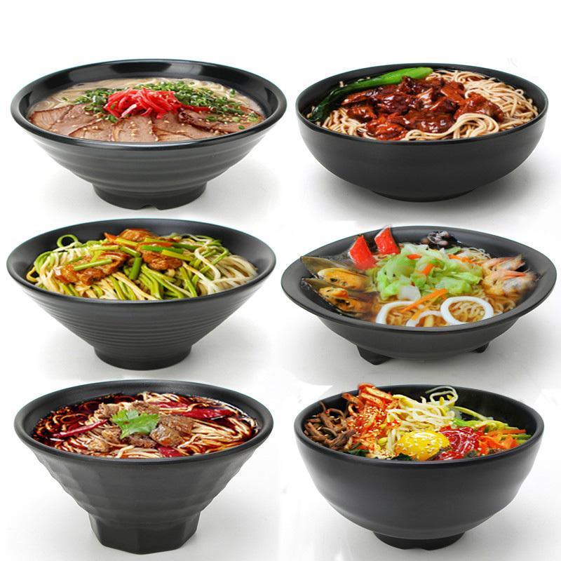 酸辣粉餐馆面馆专用碗汤碗粉碗大碗磨砂塑料黑色日式面碗商用大号