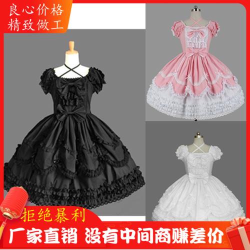 圣诞元旦日系Lolita洋装复古哥特式蕾丝连衣裙宫廷芭比晚礼表演服
