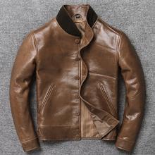 油蜡进口头层牛皮欧美真皮皮衣男立领休闲中年重磅复古皮夹克外套