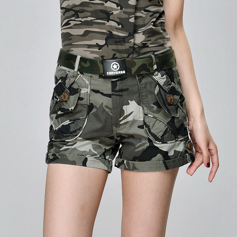 2021 summer fashion military multi bag pants overalls camouflage pants slim womens Cotton Shorts hot pants 915
