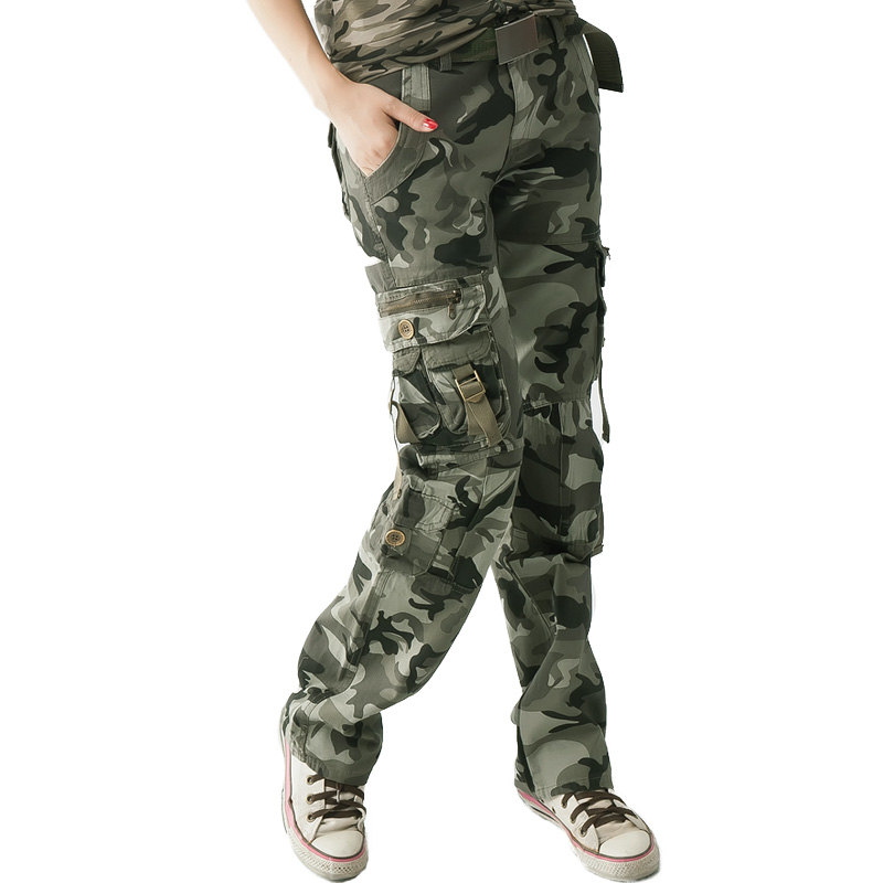 Autumn and winter 2021 new camouflage pants casual pants outdoor tooling womens Multi Pocket slim pants