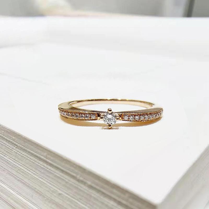 柏克蓝钻石初遇珠宝钻戒女简约18K金玫瑰金戒指结婚求婚定制婚戒