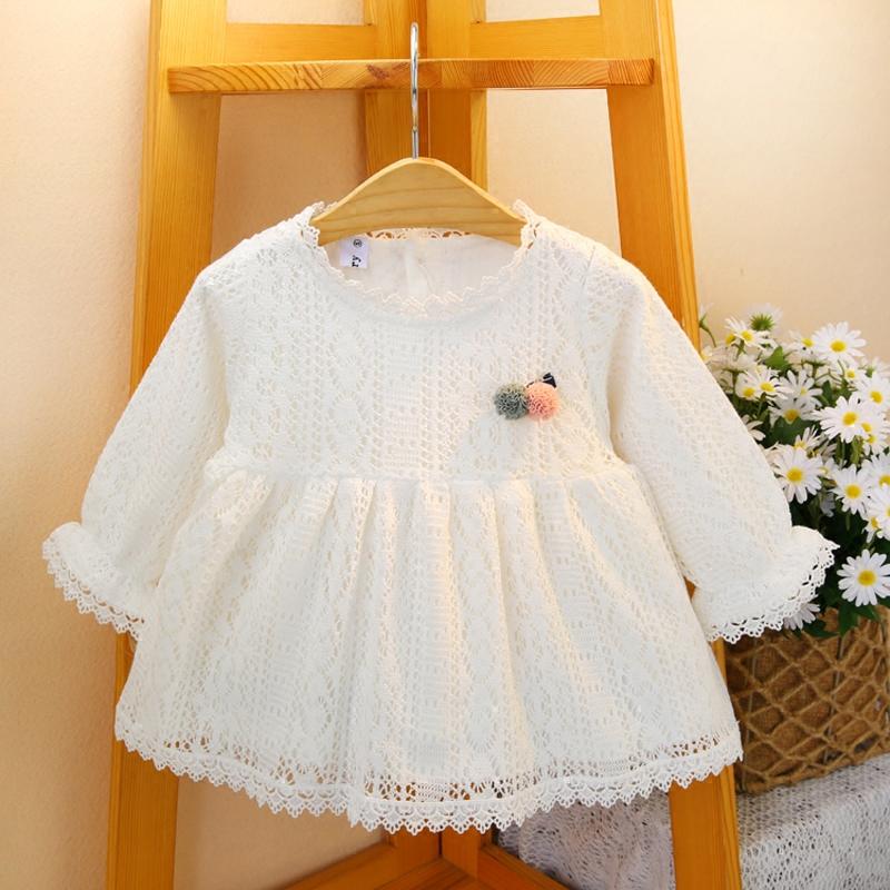 童装女童2020春秋装蕾丝长袖连衣裙 女孩宝宝小童白色公主连衣裙